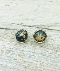 Black & Gold Flake Stud