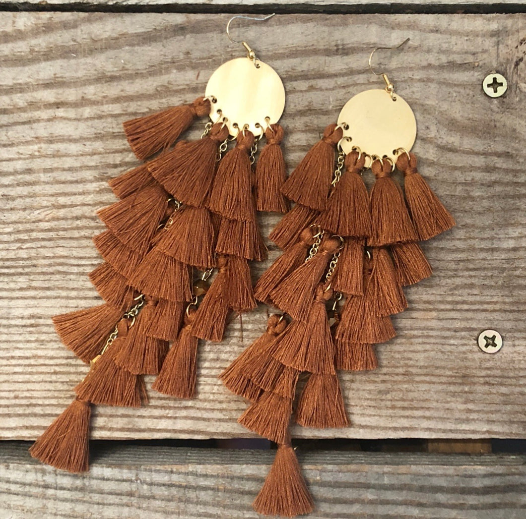 Rust Colored Tassel Earrings