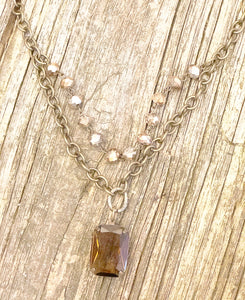 Vintage Style Crystal Pendant Necklace