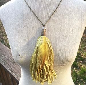 Canary Yellow Tassel Necklace with Feather