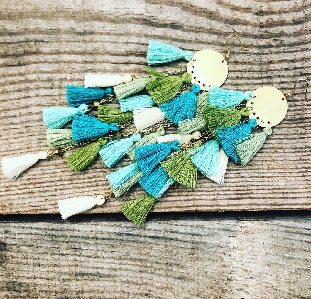 Mixture of Blues, Greens, & Cream Tassel Earrings