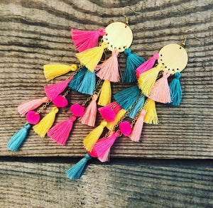 Teal, Pink, & Yellow Tassel Earrings