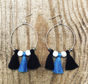 Game Day Tassel Hoop Earrings (More colors available)