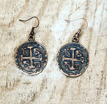 Load image into Gallery viewer, Faux Coin Metal Earrings