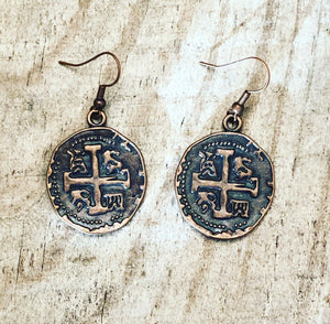 Faux Coin Metal Earrings