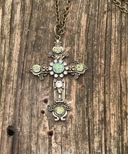 Load image into Gallery viewer, Druzy Cross Necklace