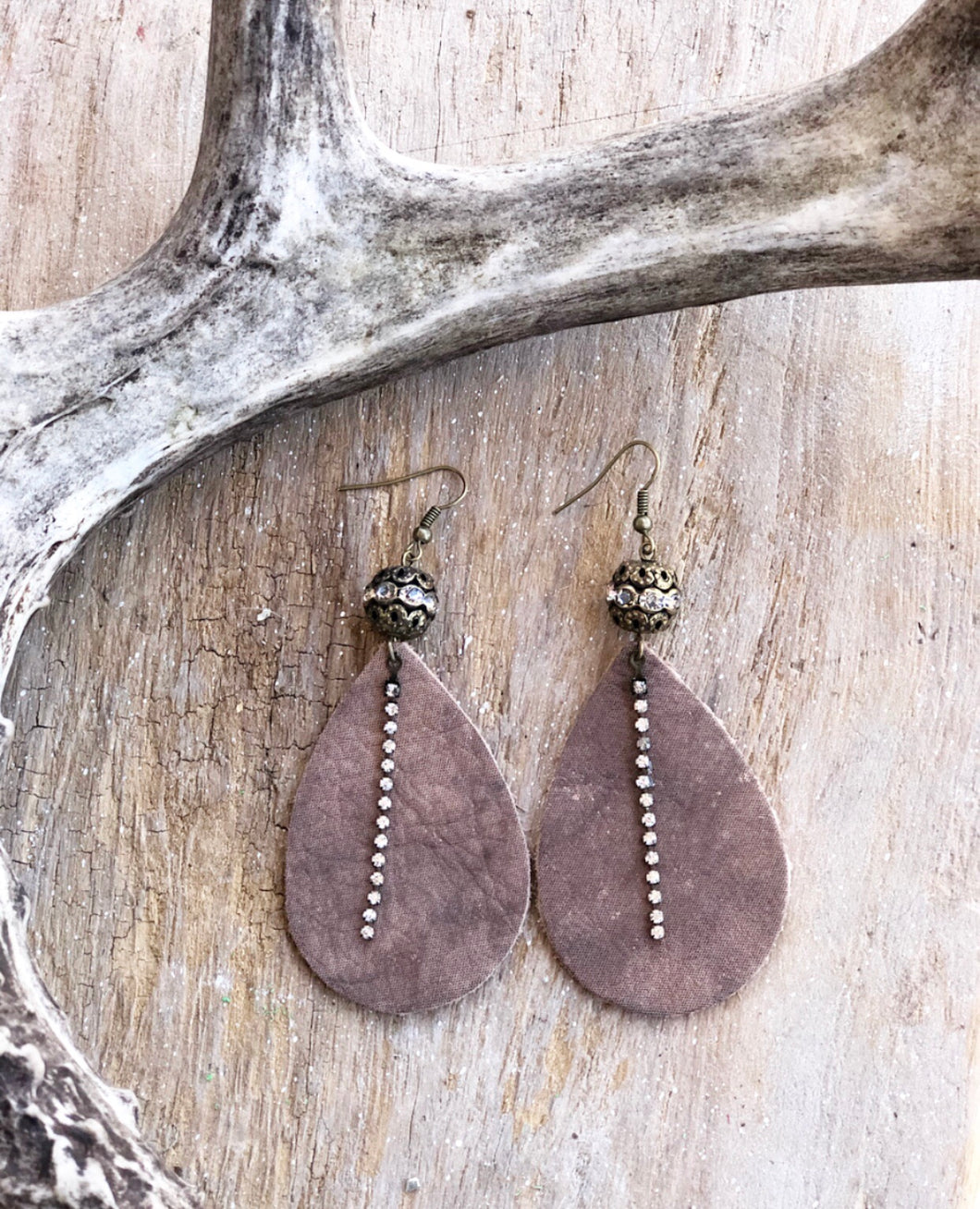 Bronze Shimmer Leather Earrings