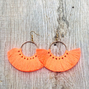 Neon Orange Tassel Earrings