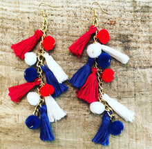 Load image into Gallery viewer, Red/White/Blue Tassel Dangle Earrings