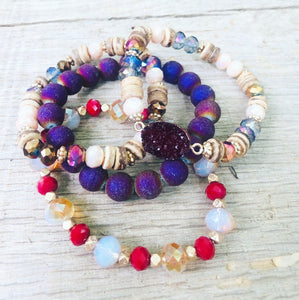 Ruby Beaded Bracelet Stack