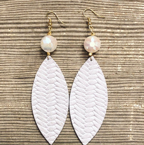 White Fishtail Leather Earrings with Bead