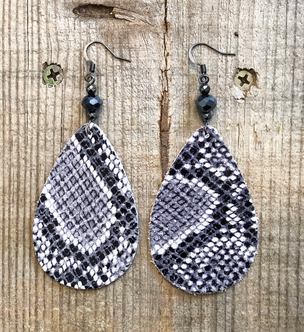 Gray & White Snake Print Leather Earrings