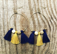 Load image into Gallery viewer, Game Day Tassel Hoop Earrings (More colors available)