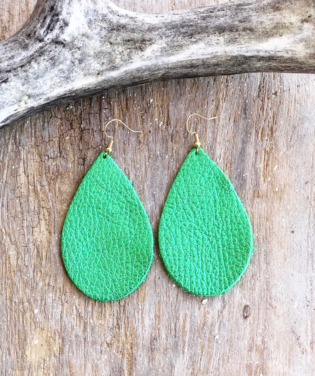 St. Patrick's Day Green Leather Earrings