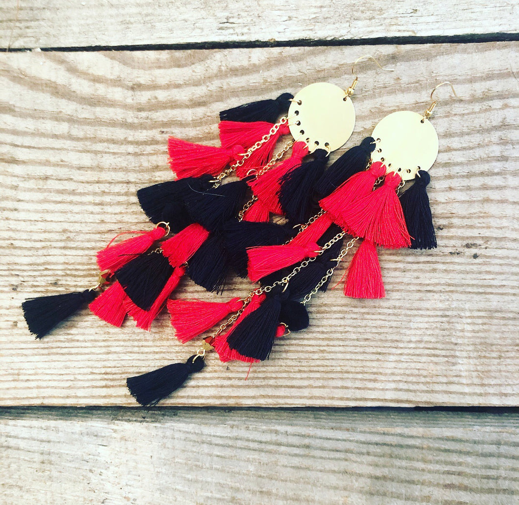 Red & Black Tassel Earrings