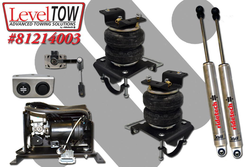 LevelTow Kit for 2001-2010  Silverado and Sierra 2500HD, 3500HD 2WD and 4WD.  Includes rear air spring kit, Auto Leveing compressor system with Smart Sensor & Fox monotube shock absorbers.