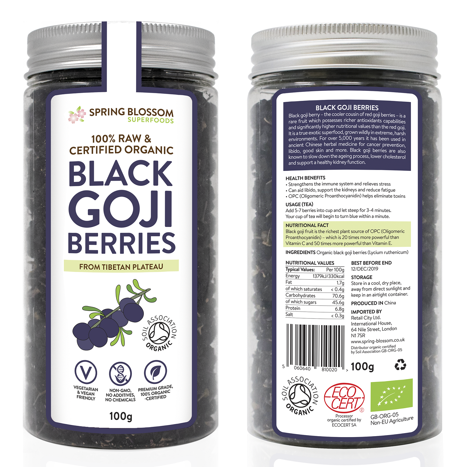 100g Organic Black Goji Berries - Spring Blossom Superfoods