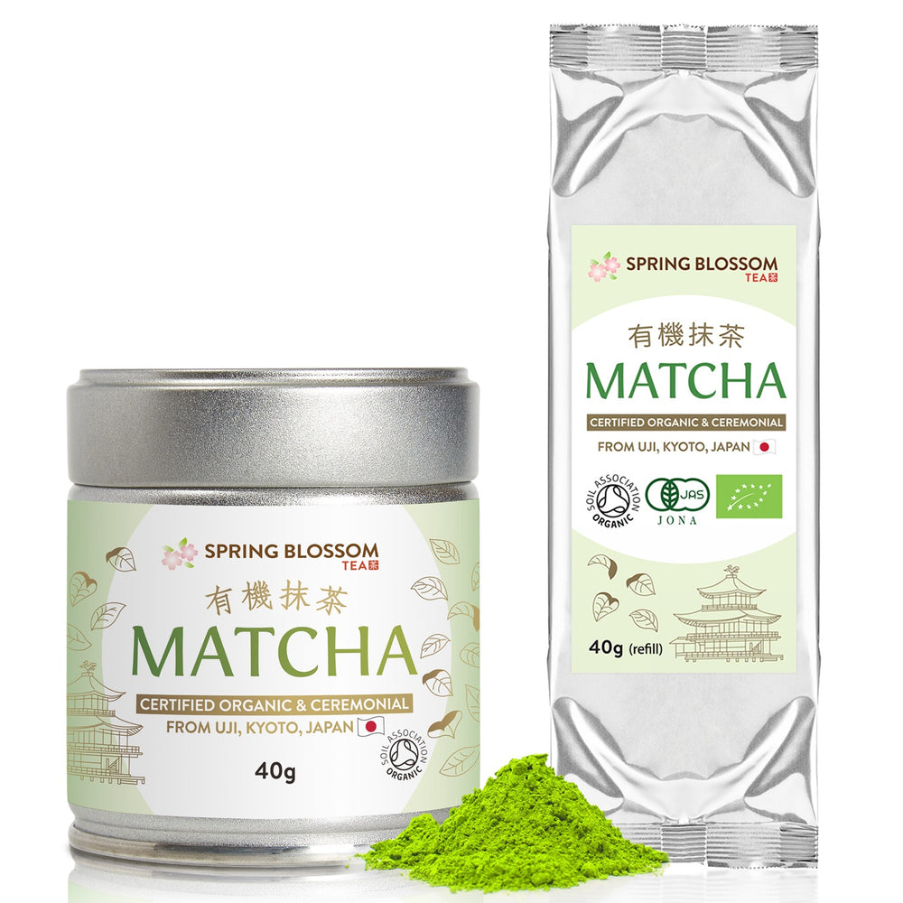 Load image into Gallery viewer, 80g Organic Matcha Tea Set - Ceremonial Grade (Tin & Refill) - Spring Blossom Superfoods