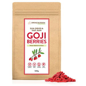 500g Natural & Raw Goji Berries - Tibetan Plateau Sun-Dried - Spring Blossom Superfoods