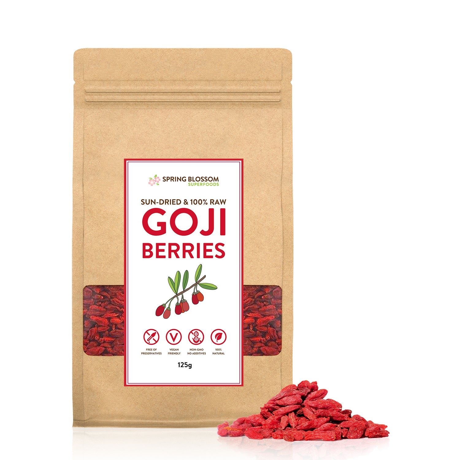 125g Natural & Raw Goji Berries - Tibetan Plateau Sun-Dried - Spring Blossom Superfoods