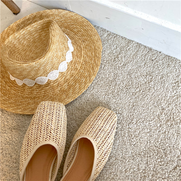 straw flat shoes
