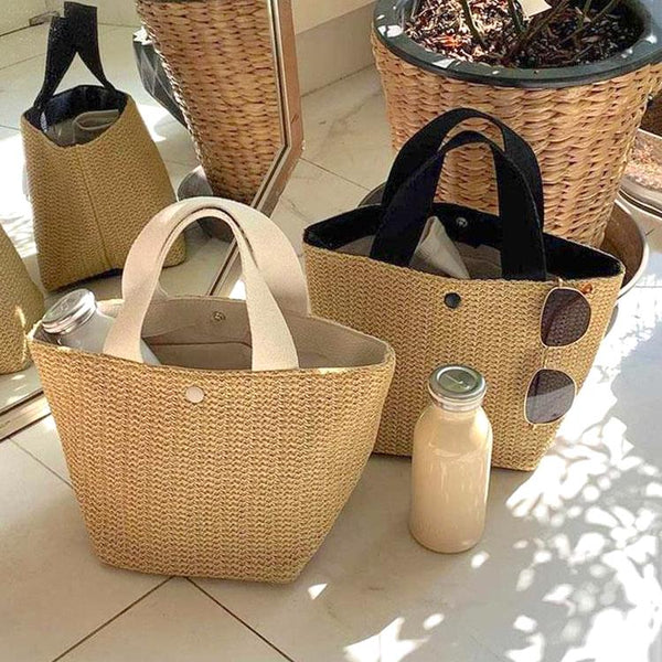 simple bicolor straw bag