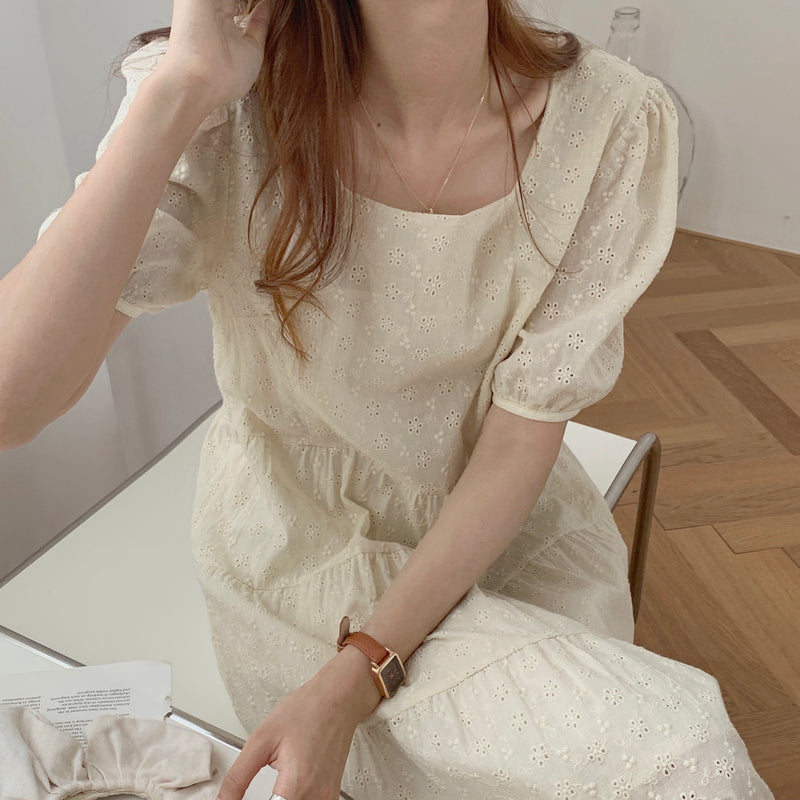 flower lace square neck onepiece