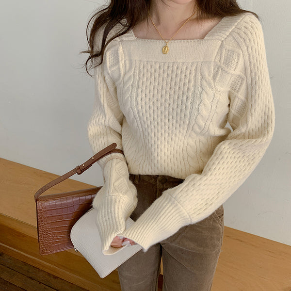 square girly cable knit