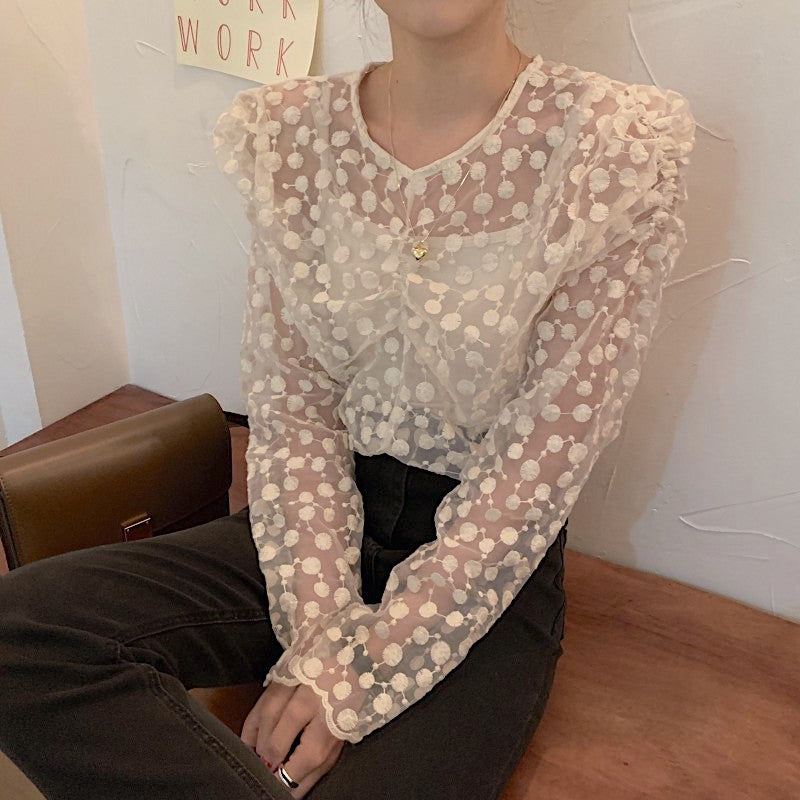 see through dot blouse