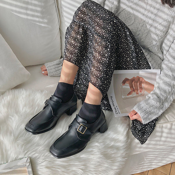 chunky heels retro loafer