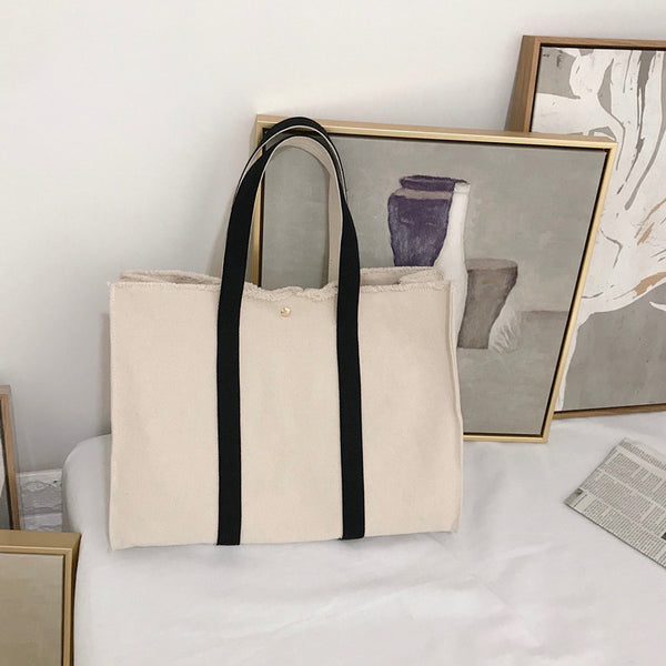 fringe design natural tote bag