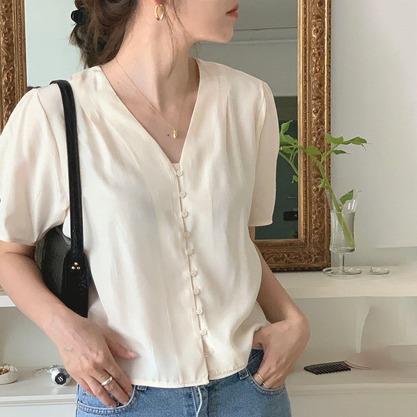 design vneck lady blouse