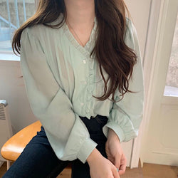 ruffle design mint blouse