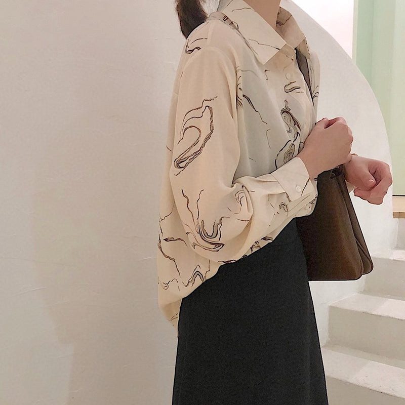 marble design loose blouse