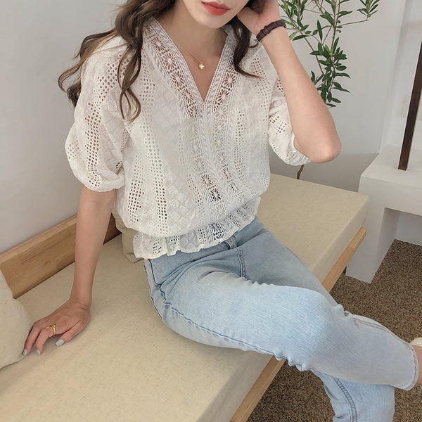 v cut peplum lace blouse