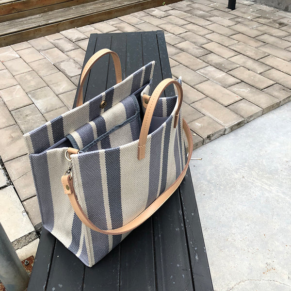 stripe design natural tote bag