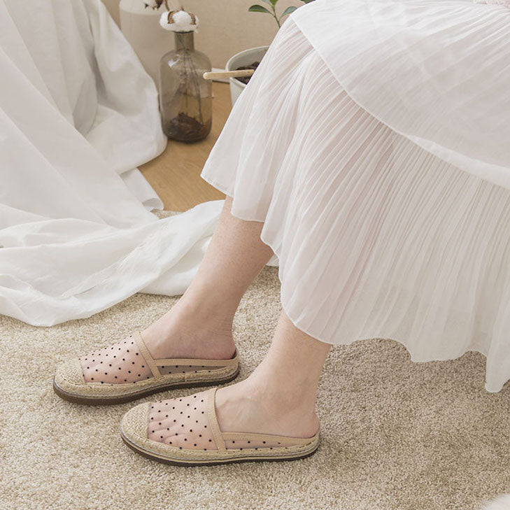 see through dot design flat shoes