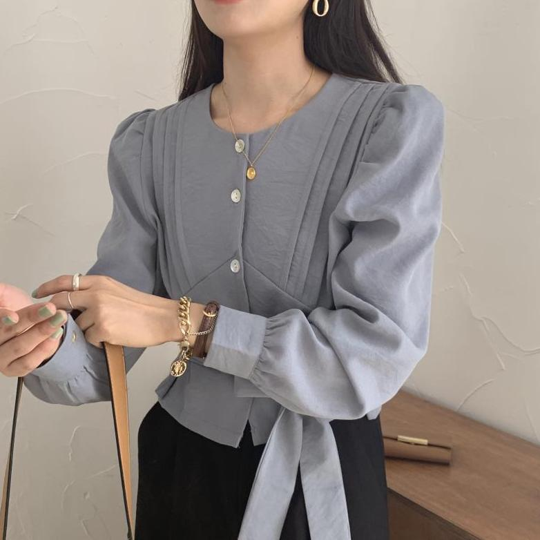 no collar puff sleeve blouse