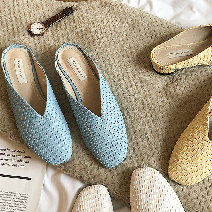 braided design flat shoes
