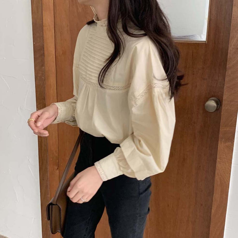 high neck classical blouse
