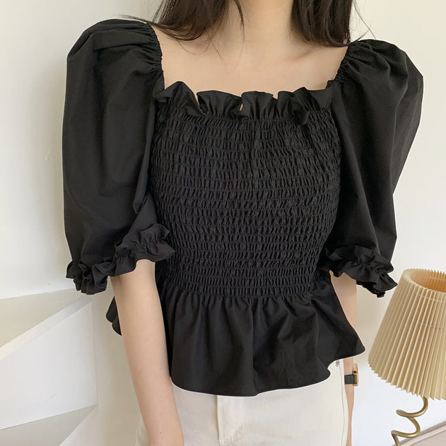 shirring peplum blouse
