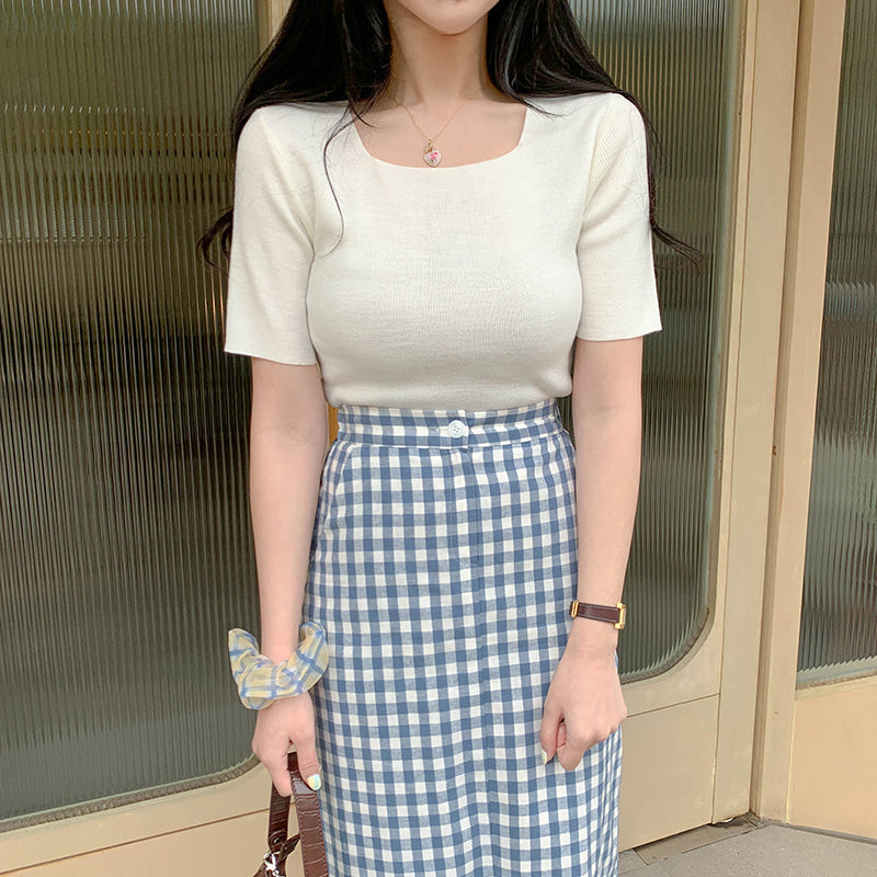 gingham check tight skirt