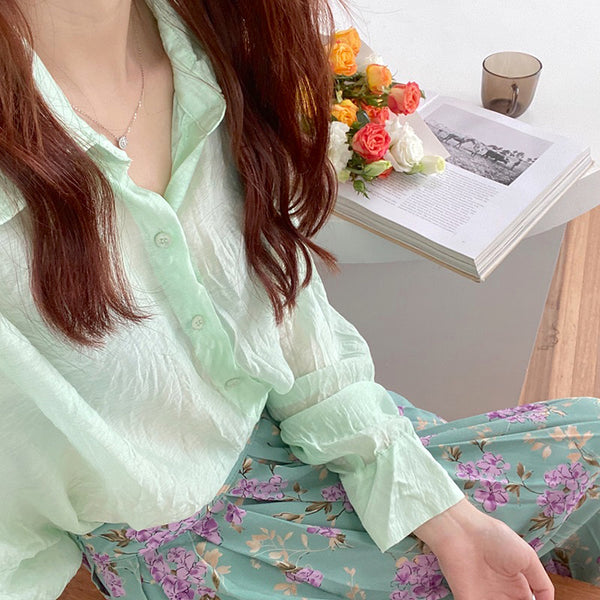 sheer mint simple shirt