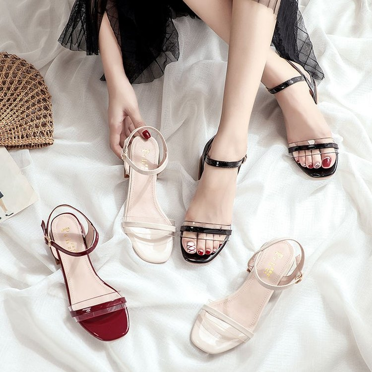 clear french heel sandal