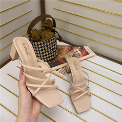 cross thick heel sandal
