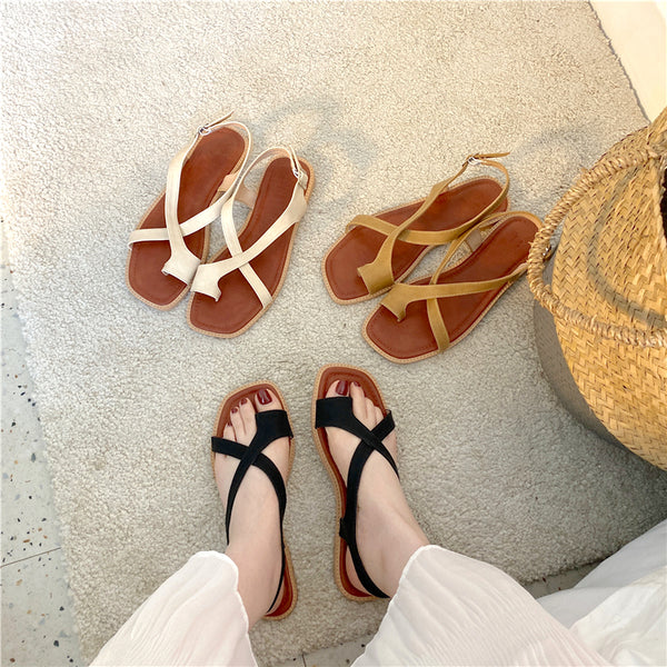 cross belt flat sandals