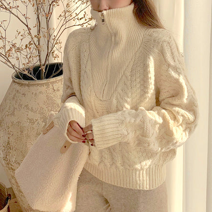 high neck front fastener knit