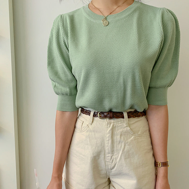 puff sleeve summer knit