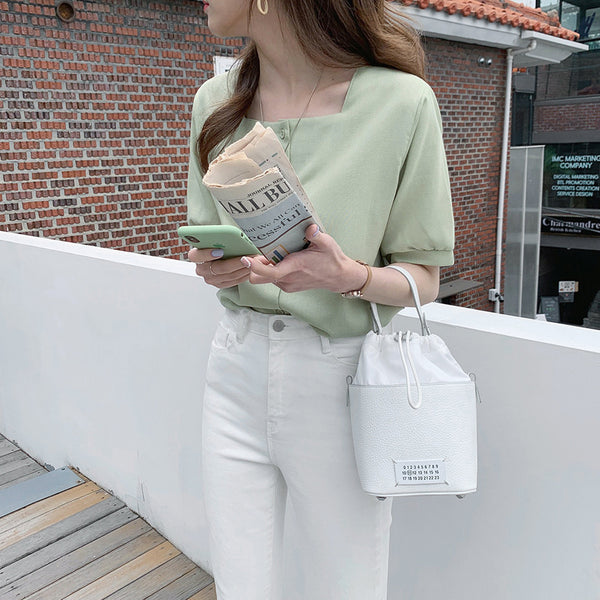 square neck puff blouse