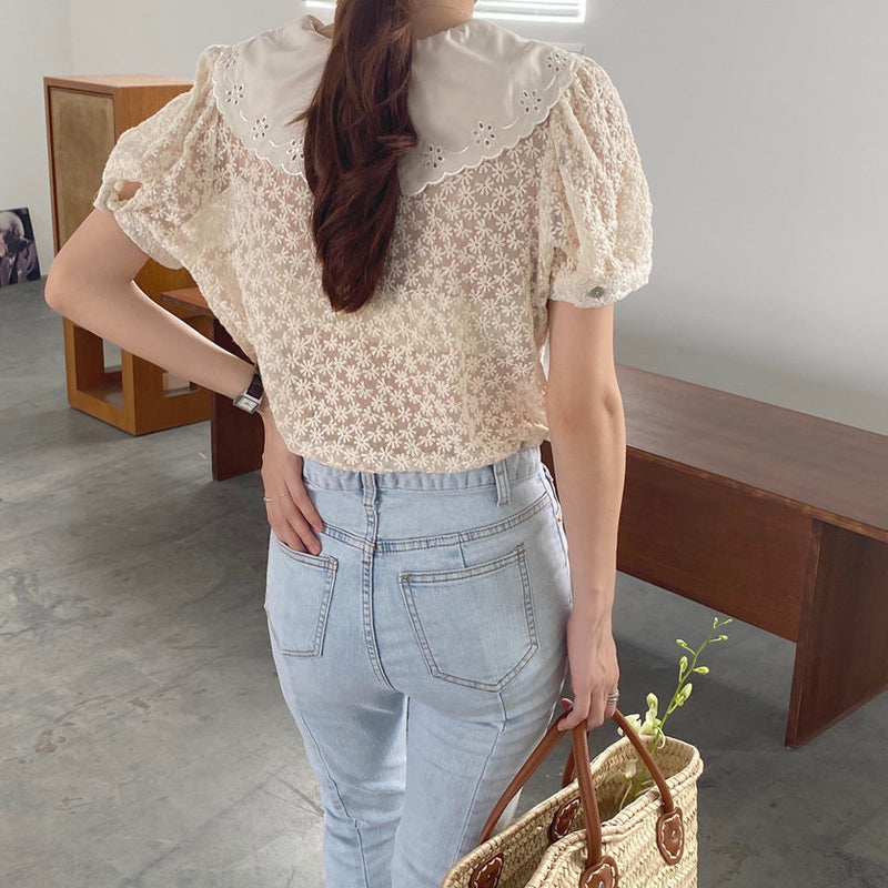 lace collar design classic blouse